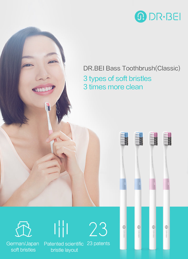DR.BEI Bass Toothbrush, 4 Pieces (Classic) Xiaomi Youpin DR.BEI Toothbrush Bass Method Sandwish-bedded Teeth Clean Brush Soft Travel Tooth Brush Softbrush Xiaomi Youpin