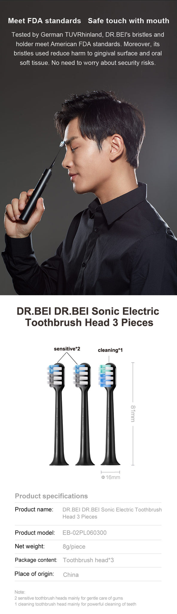 DR.BEI Black Gold Toothbrush  Head, 3 Pieces Xiaomi Youpin DR·BEI Electric Tooth Brush Heads Parts 3Pcs/set for BY-V12 Ultrasonic Electric Toothbrush Teeth Cleaning Brush Head Replacement