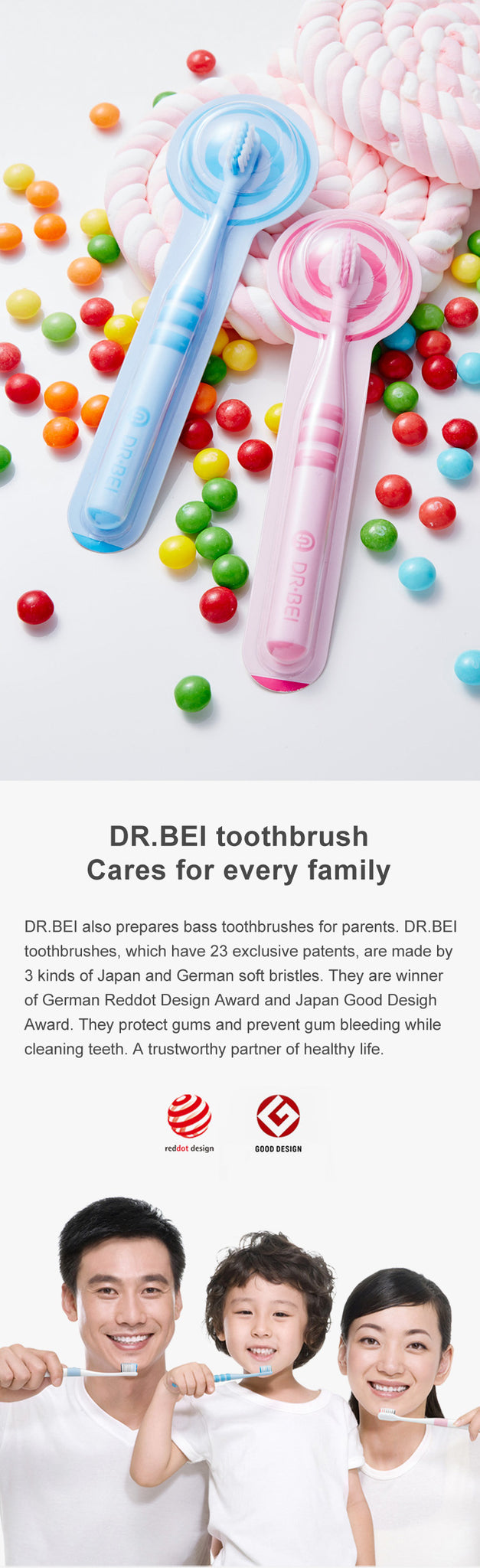 DR.BEI Children Toothbrush (6-12 Years old) Xiaomi Youpin DR·BEI Mini Kids Toothbrush Deep Clean Soft Sandwish-bedded Texture Dental Oral Care Health for Children Teeth Brush Cleaning