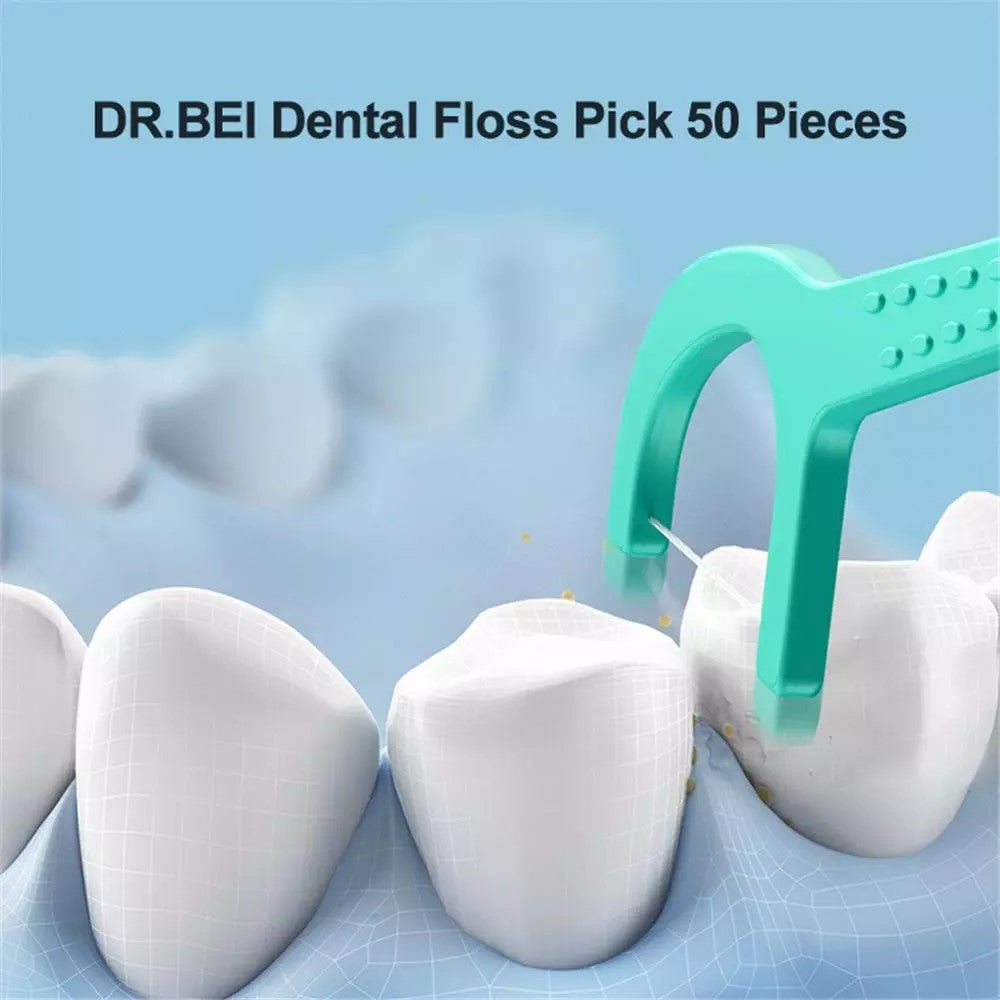 DR.BEI Dental Floss Pick, 50 Pieces Xiaomi Youpin DR.BEI Dental Floss Stick 50pcs/box Portable Picks Teeth Flosser Toothpicks Dental Oral Care Teeth Pick Hygiene Cleaning Tools