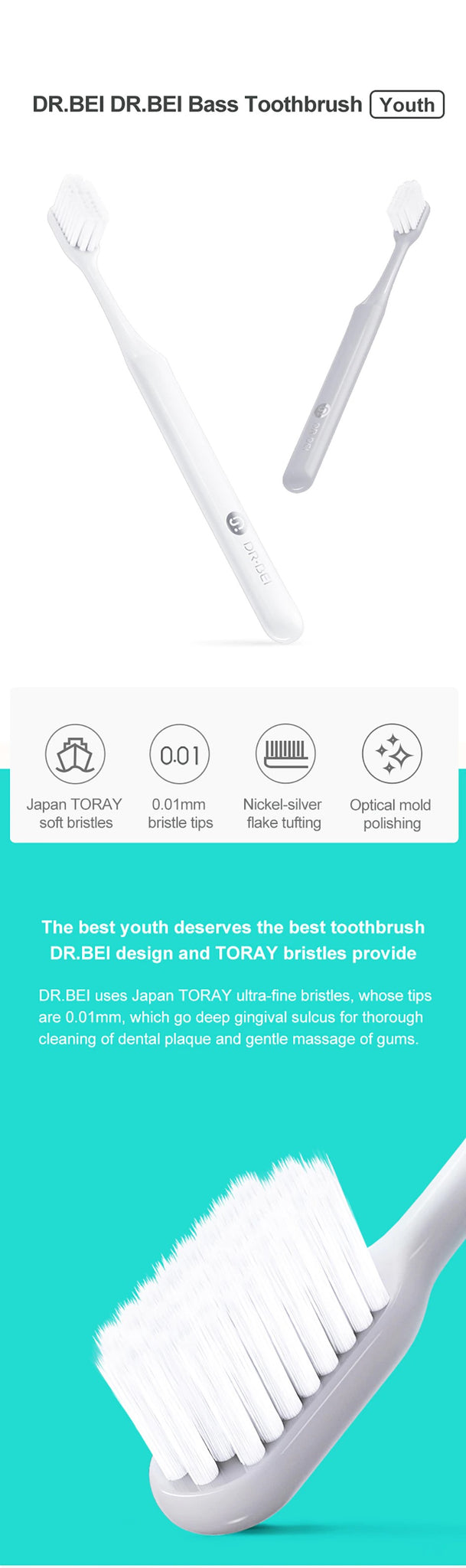 DR.BEI Bass Toothbrush (Youth) Xiaomi Youpin DR·BEI Bass Toothbrush Youth Version Ultra-fine Soft Bristles 2 Colors Dental Care Beauty Health Tooth Brushes