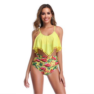 Yellow Flamingo Swimsuits Tankini Set