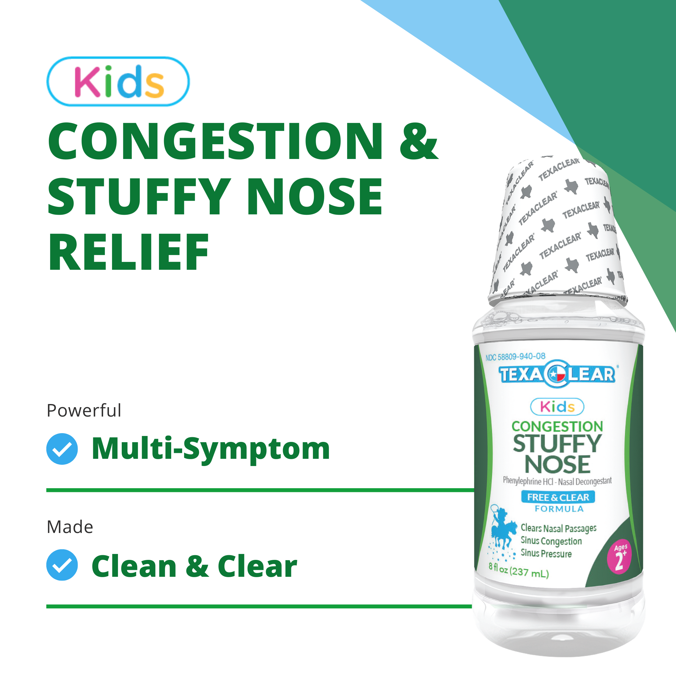 TexaClear Kids Stuffy Nose Relief - Ages 2+