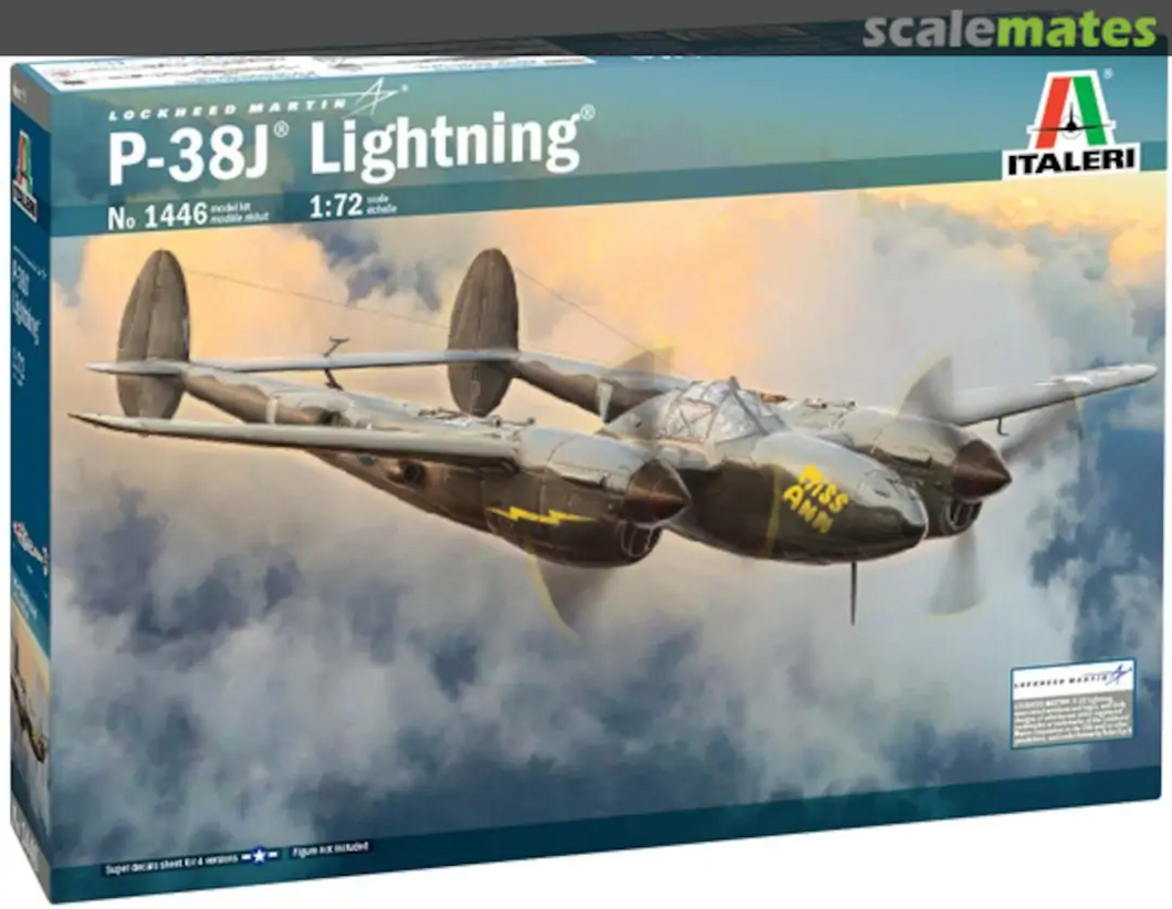 Italeri 1446 Lockheed P-38J Lightning 1/72 Scale Model Aircraft