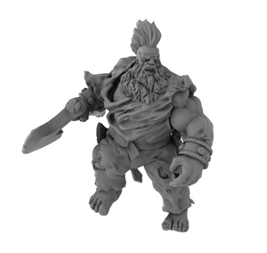 Nickey's Hatchery Dwarf Barbarian D and D 3D Printed Model