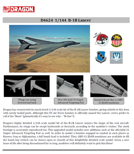 Dragon D4624 B-1B Lancer Bomber 1:144 Plastic Model Kit