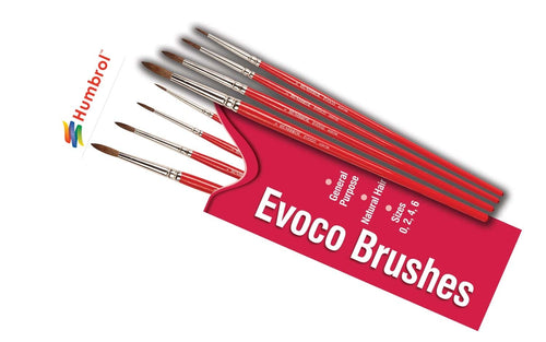Humbrol AG4150 Evoco Brush Pack - Size 0/2/4/6 Airfix
