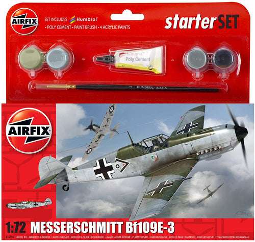 AIRFIX A55106 Messerschmitt Bf109E Starter Set 1:72 Aircraft Model Kit