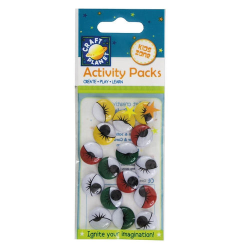Craft Planet Wiggle Eyes (16pcs) Round - Assorted Colours (15mm)