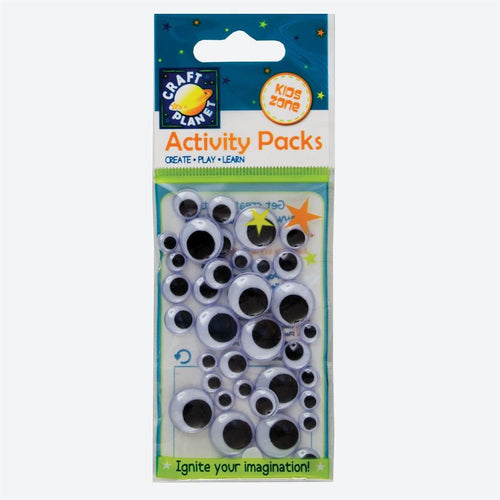 Craft Planet Wiggle Eyes (40pcs) Round - Black & White (Assorted Sizes)