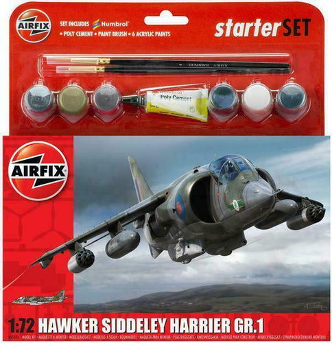 Airfix A55205 Hawker Harrier GR1 Starter Set 1:72 Plastic Model Kit