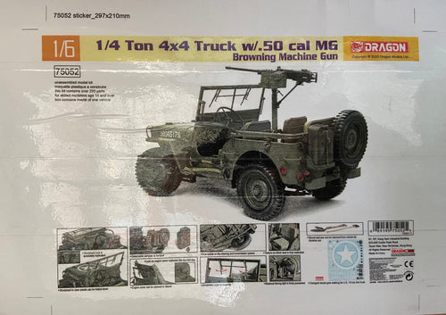 Dragon 75052 1/6 Us 1 / 4 ton Willys Jeep With Heavy .5 Cal Machine Gun