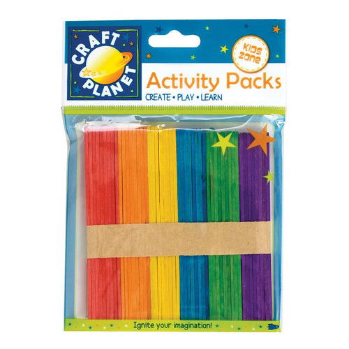 Craft Planet Lollipop Sticks (approx. 50pcs) - Assorted Colours