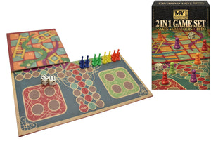 2 In 1 Snakes & Ladders & Ludo Game Set In Colour Box