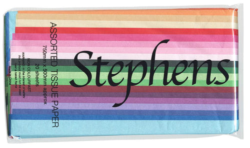 Stephens Tissue Multipack 20 Sheets Standard Colours