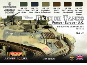 LifeColor British Tanks Set 2 France Europe and UK (22ml x 6)