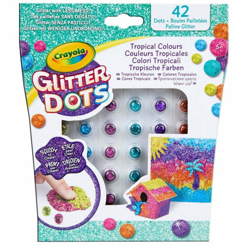 Crayola 42 Glitter Dots Assorted Classic/Tropical/Bold Colours Arts & Crafts For Kids Refill Pack