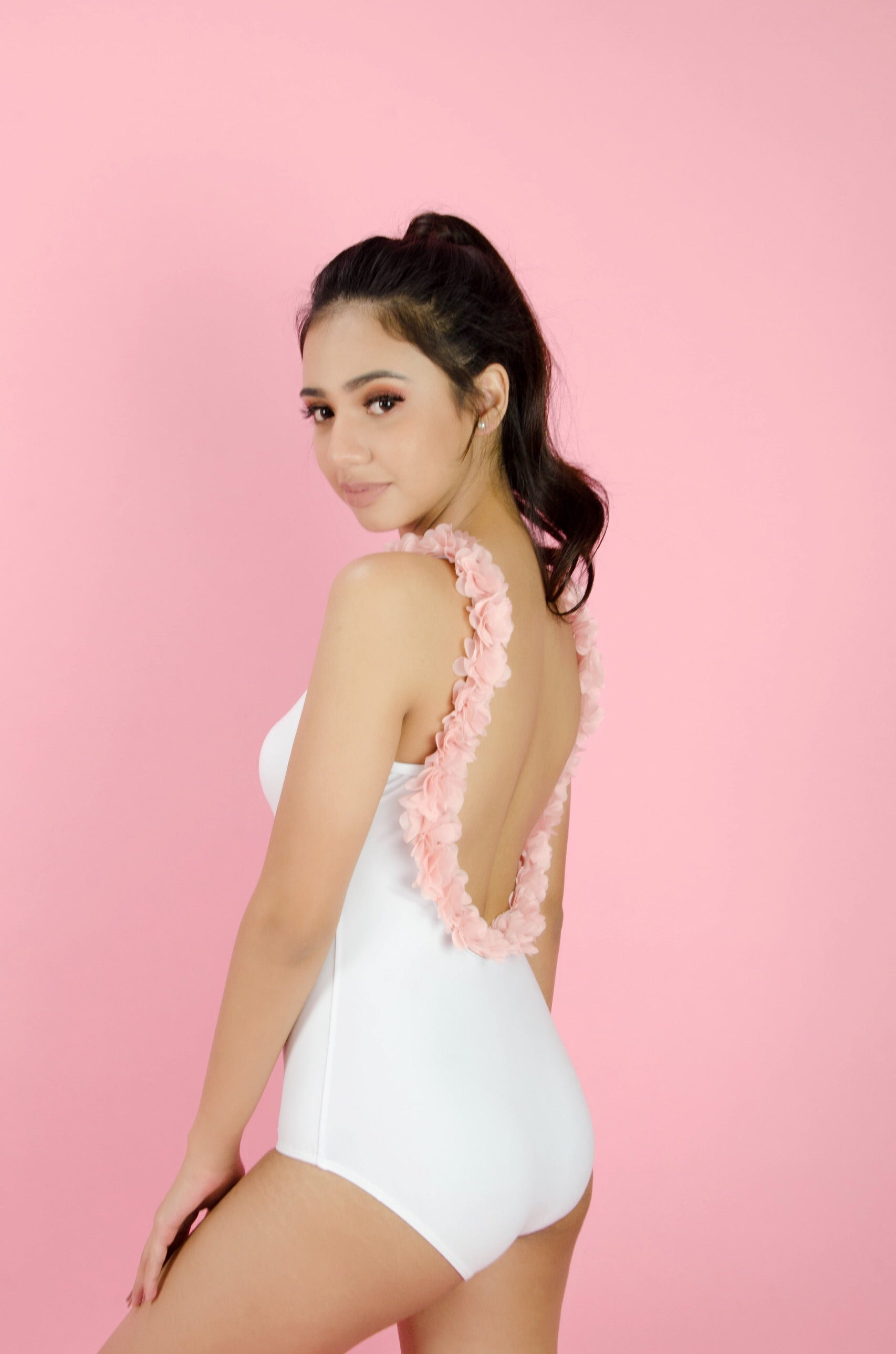 The Roseé Maillot in White with Ballerina Pink Flowers