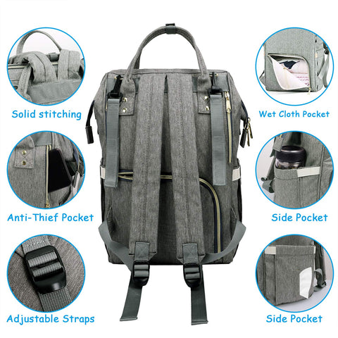 Large Capacity Diaper Bag Backpack Waterproof With USB Interface