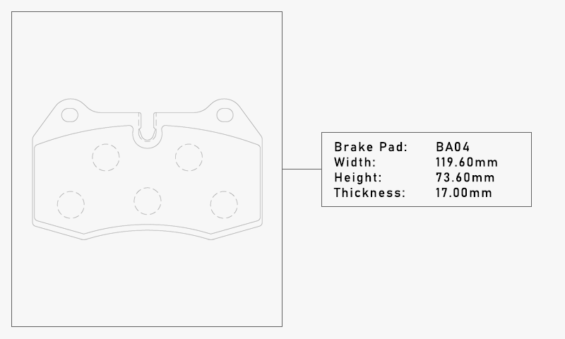 Elig BA04 Brake Pad - Width: 119.60mm, Height: 73.60mm, Thickness: 17.00mm