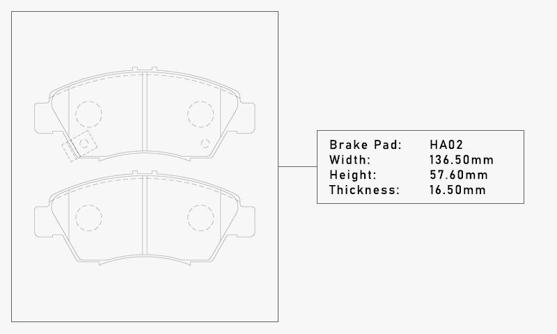 Elig HA02 Brake Pad - Width: 136.50mm, Height: 57.60mm, Thickness: 16.50mm