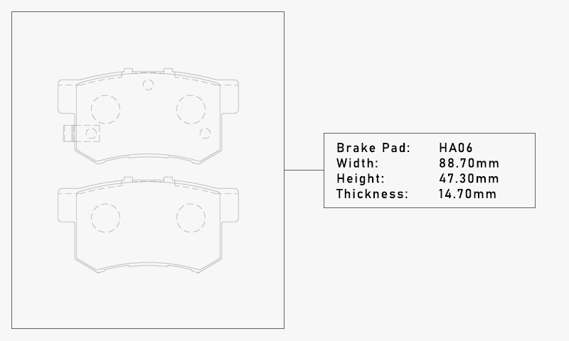 Elig HA06 Brake Pad - Width: 88.70mm, Height: 47.30mm, Thickness: 14.70mm