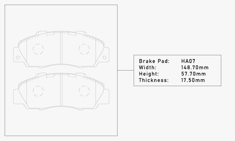 Elig HA07 Brake Pad - Width: 148.70mm, Height: 57.70mm, Thickness: 17.50mm