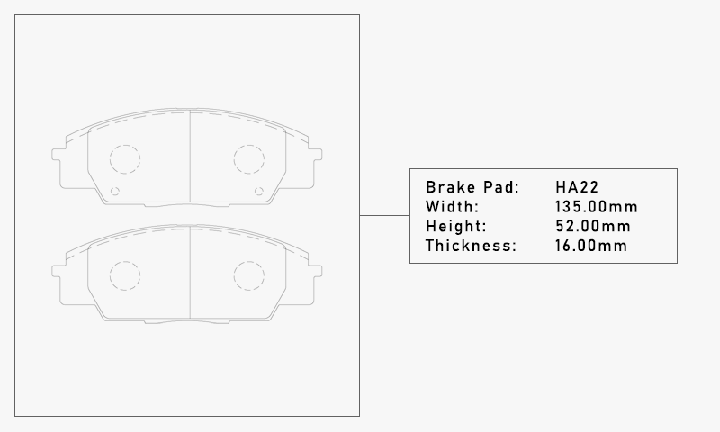 Elig HA22 Brake Pad - Width: 135.00mm, Height: 52.00mm, Thickness: 16.00mm