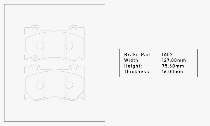 Elig IA02 Brake Pad - Width: 127.00mm, Height: 75.60mm, Thickness: 16.00mm
