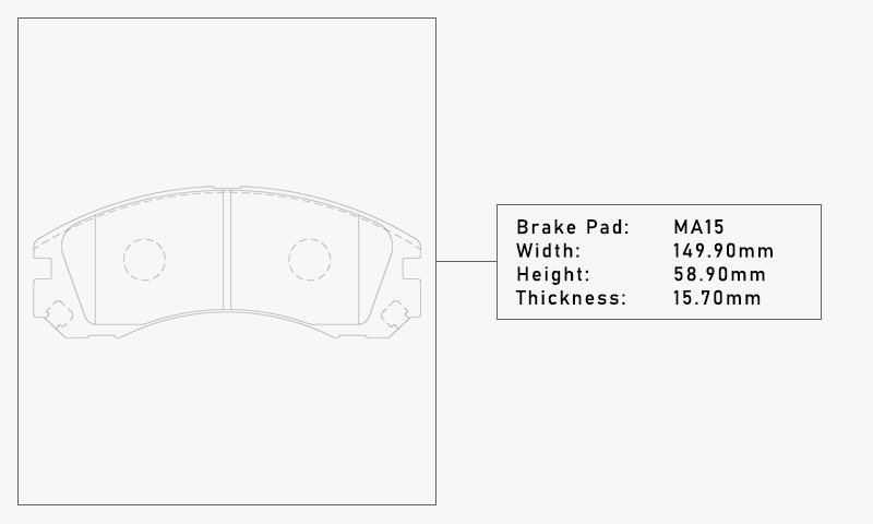 Elig MA15 Brake Pad - Width: 149.90mm, Height: 58.90mm, Thickness: 15.70mm