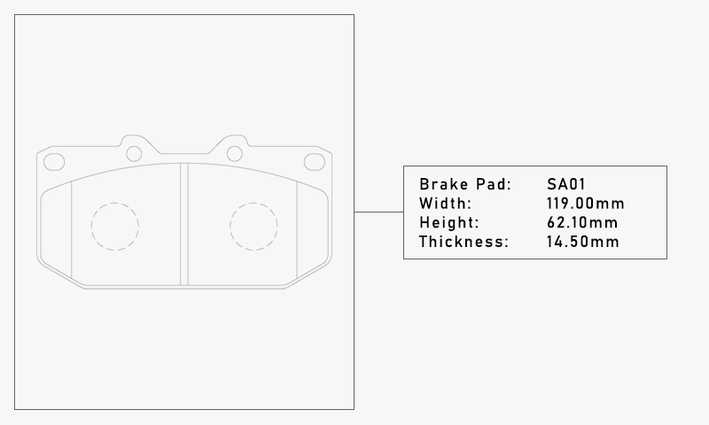 Elig SA01 Brake Pad - Width: 119.00mm, Height: 62.10mm, Thickness: 14.50mm