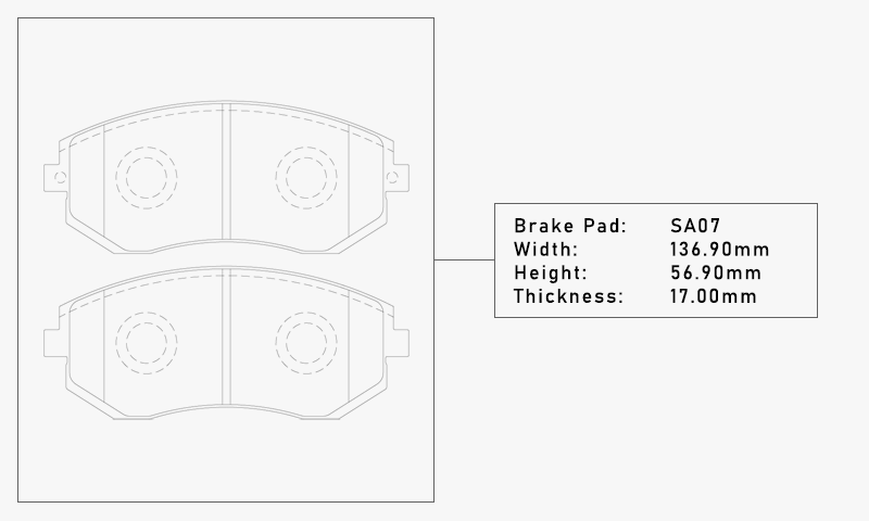 Elig SA07 Brake Pad - Width: 136.90mm, Height: 56.90mm, Thickness: 17.00mm