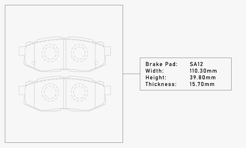 Elig SA12 Brake Pad - Width: 110.30mm, Height: 39.80mm, Thickness: 15.70mm