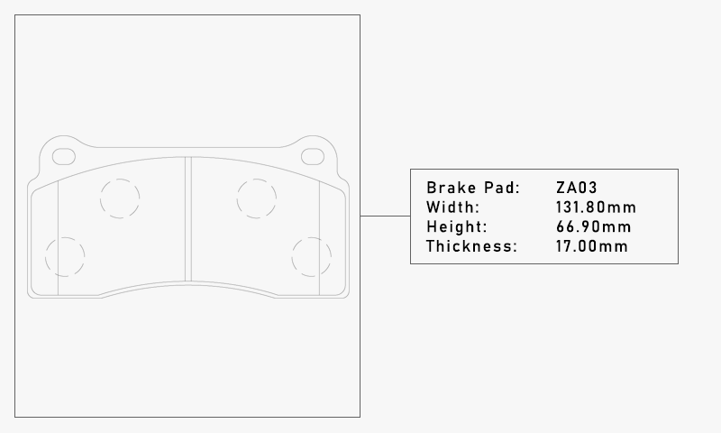 Elig ZA03 Brake Pad - Width: 131.80mm, Height: 66.90mm, Thickness: 17.00mm