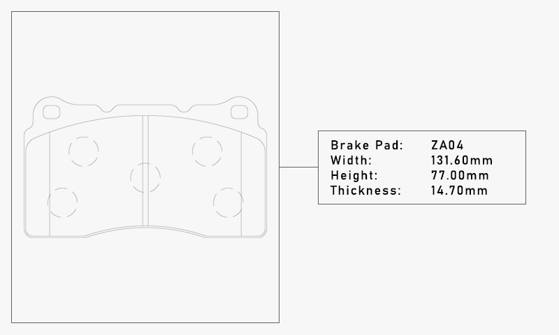 Elig ZA04 Brake Pad - Width: 131.60mm, Height: 77.00mm, Thickness: 14.70mm