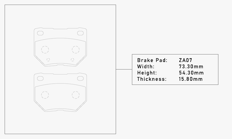 Elig ZA07 Brake Pad - Width: 73.30mm, Height: 54.30mm, Thickness: 15.80mm