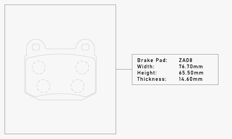 Elig ZA08 Brake Pad - Width: 76.70mm, Height: 65.50mm, Thickness: 14.60mm