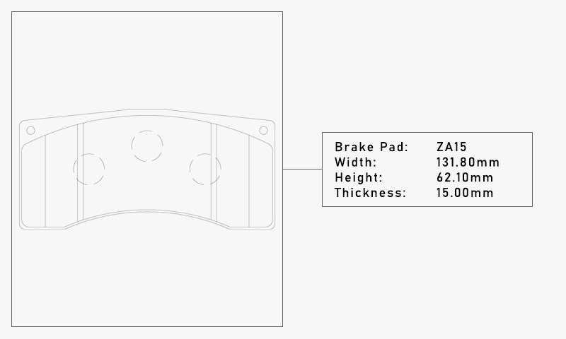 Elig ZA15 Brake Pad - Width: 131.80mm, Height: 62.10mm, Thickness: 15.00mm