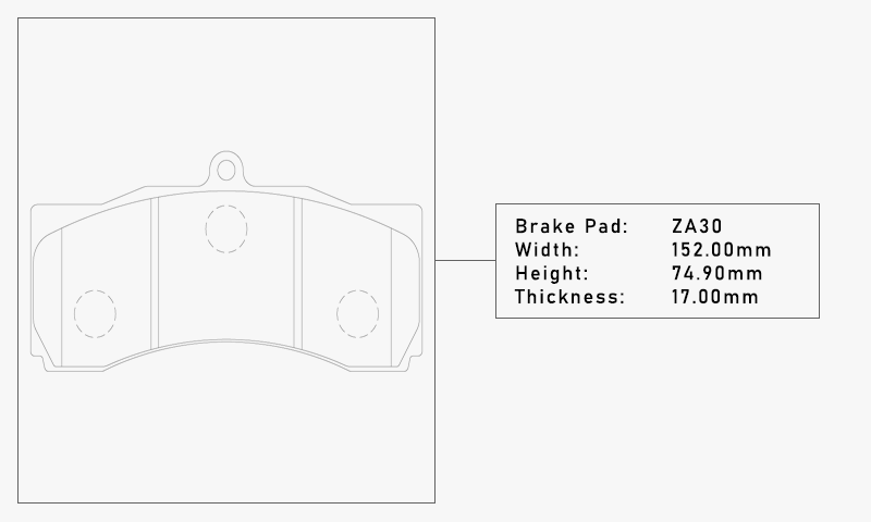 Elig ZA30 Brake Pad - Width: 152.00mm, Height: 74.90mm, Thickness: 17.00mm