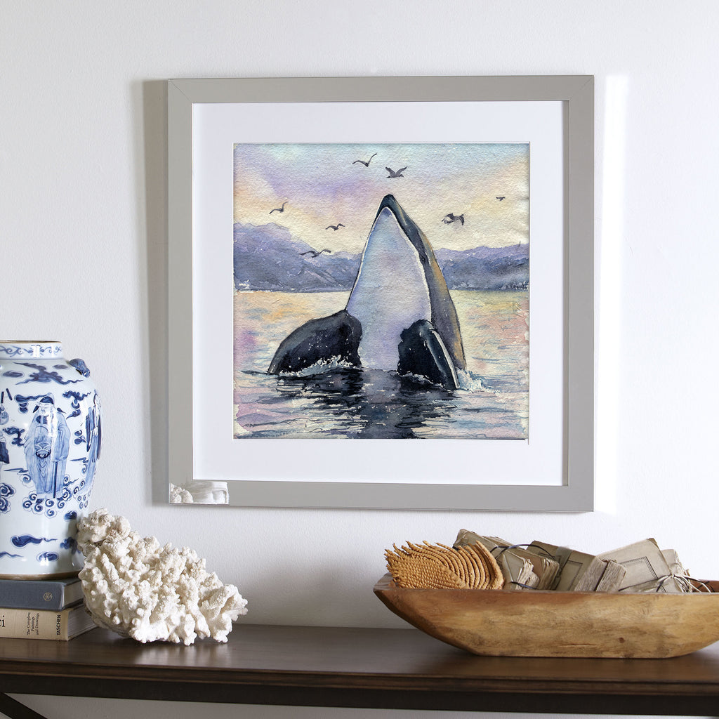 """Freja"" Orca Whale Original Watercolor Painting"