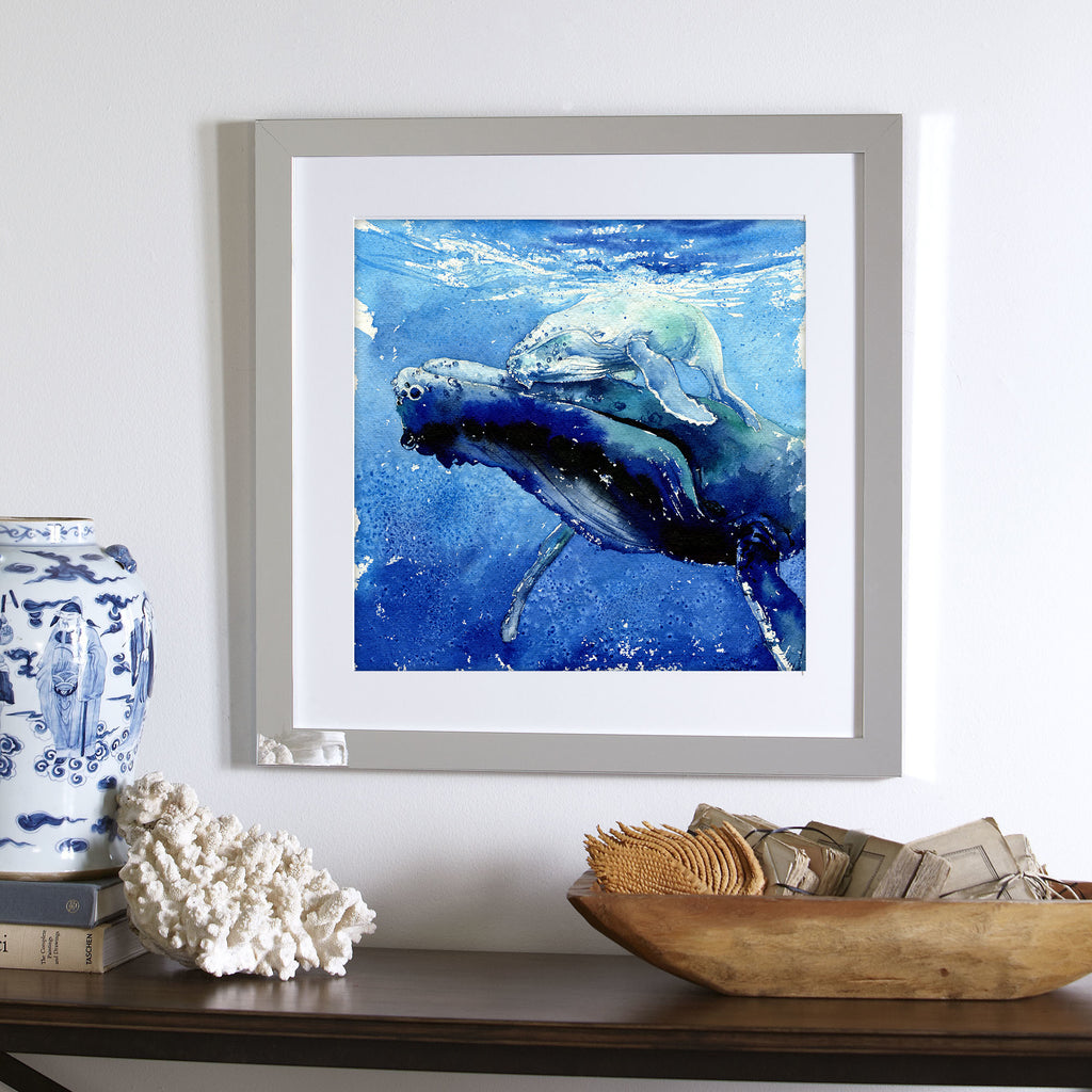 "Sleeping In The Water"" Mama & Baby Whales Original Watercolor Painting"