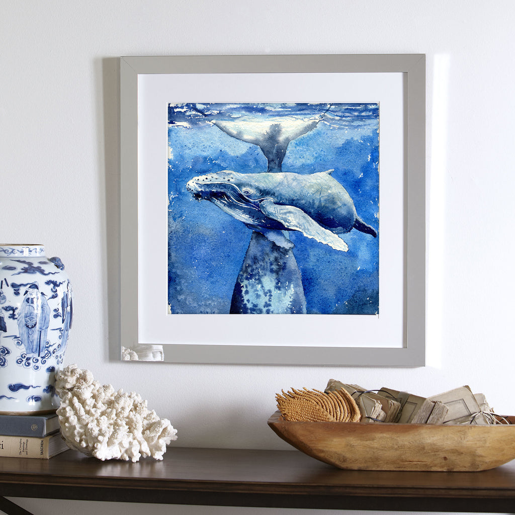 """Safe Playground"" Mama & Baby Whales Original Watercolor Painting"