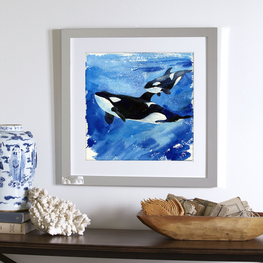 """Katina and Unna"" Mama & Baby Orca Whales Original Watercolor Painting"