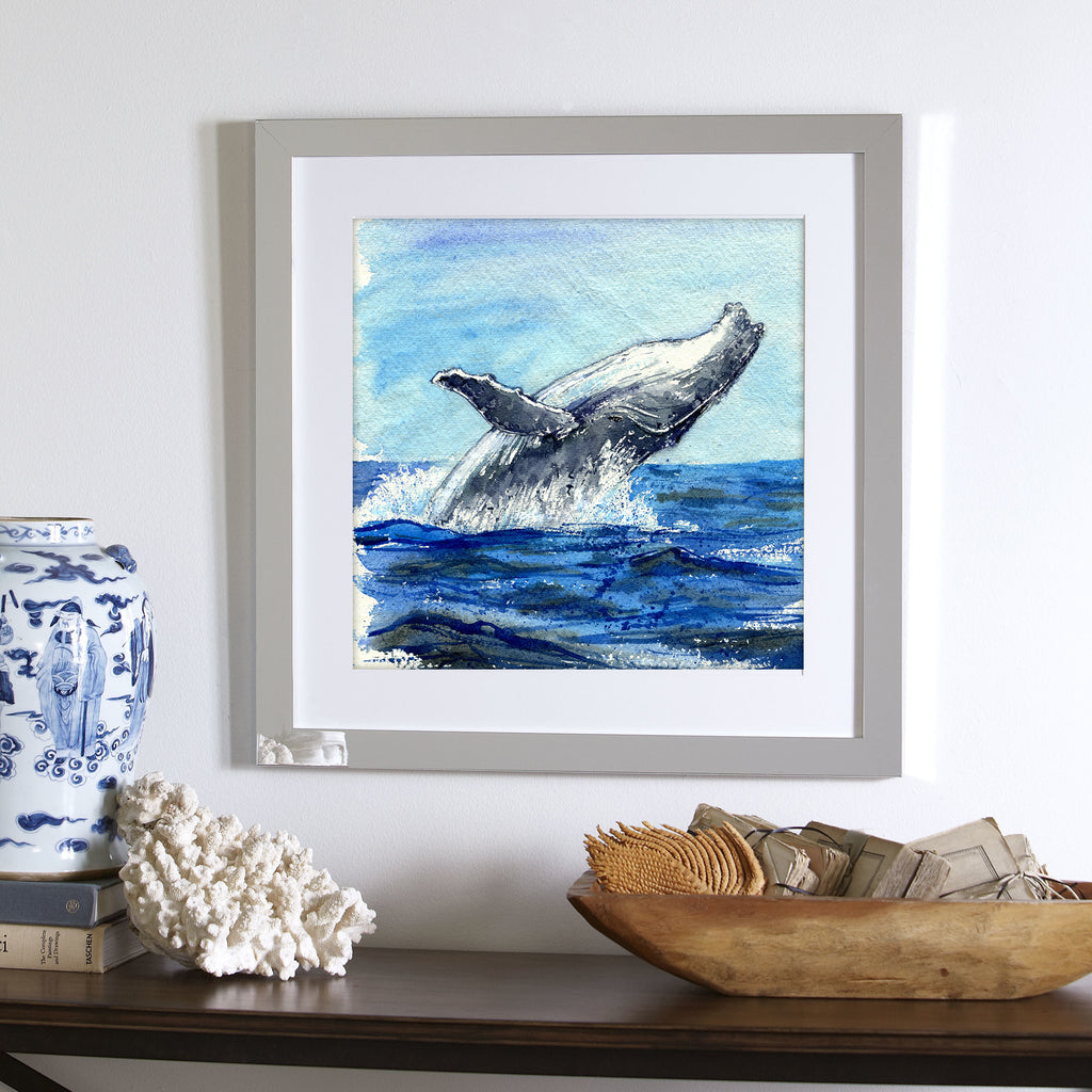 """Happy Humpy"" Humpback Whales Original Watercolor Painting"