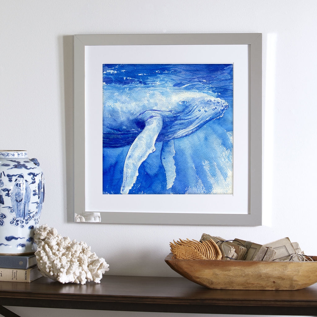 """Vava'u"" Humpback Whale Calf Original Watercolor Painting"