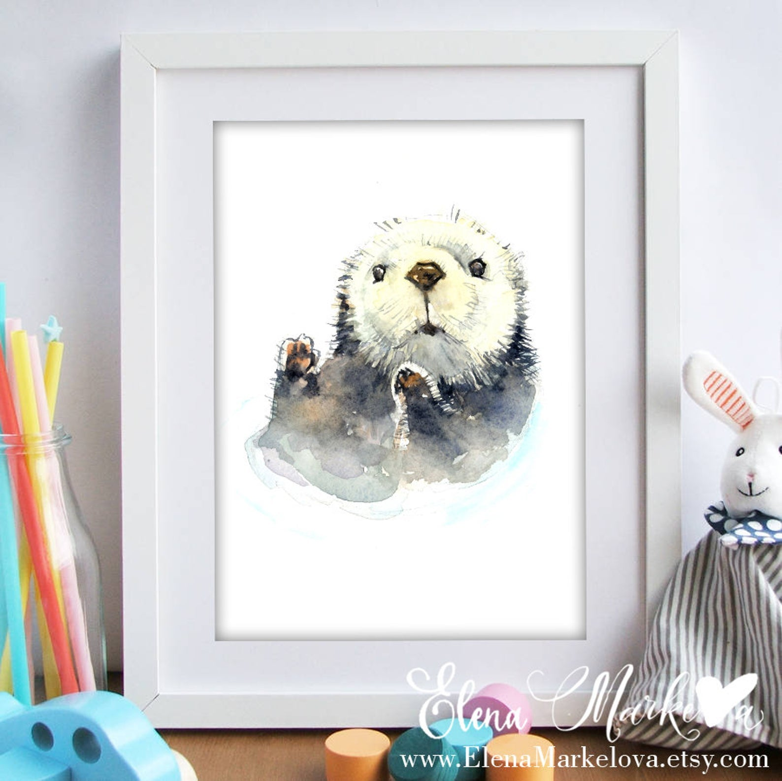 Baby Otter Watercolour Nursery Print
