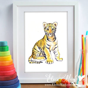 Baby Tiger Watercolour Nursery Print