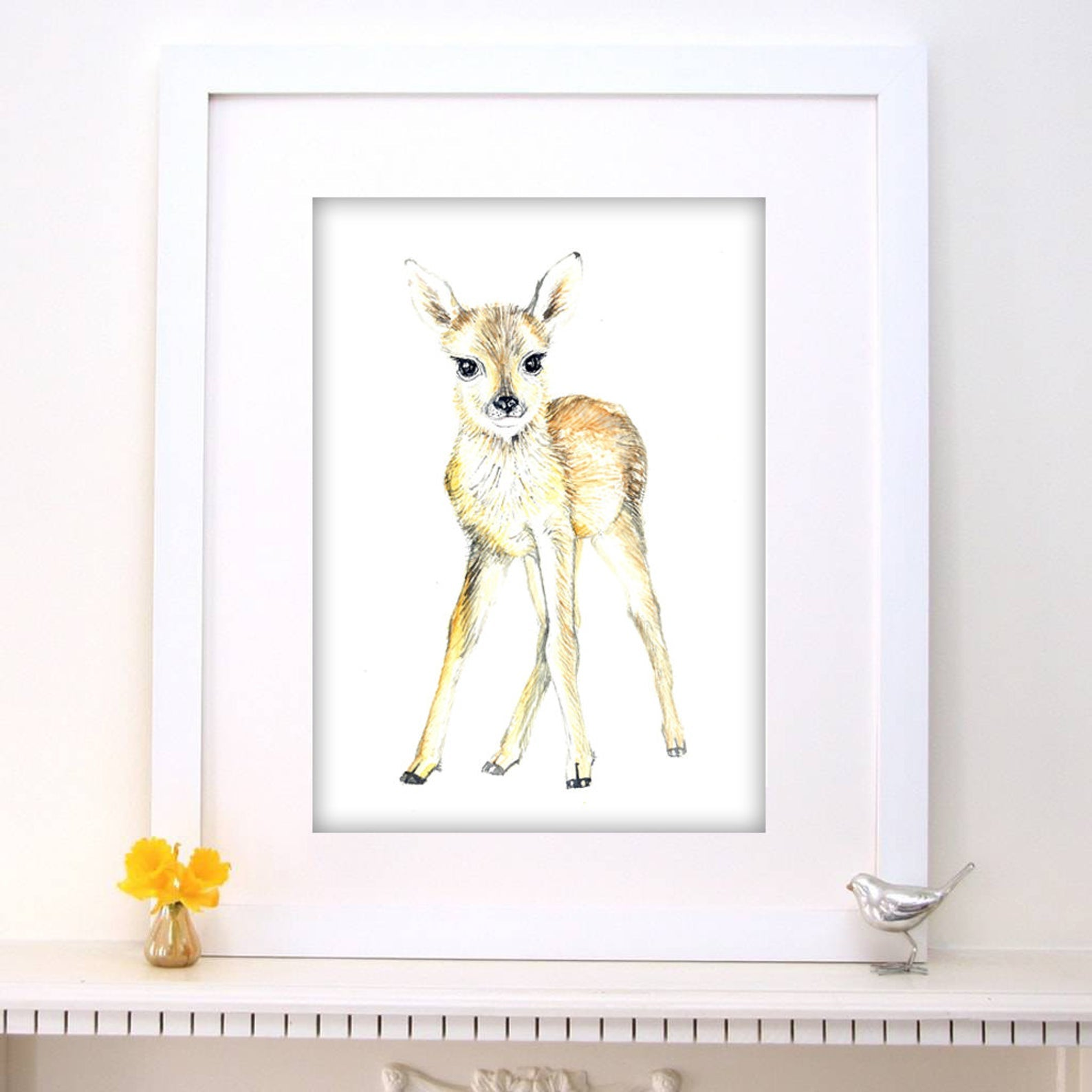 Baby Deer Watercolour Nursery Print