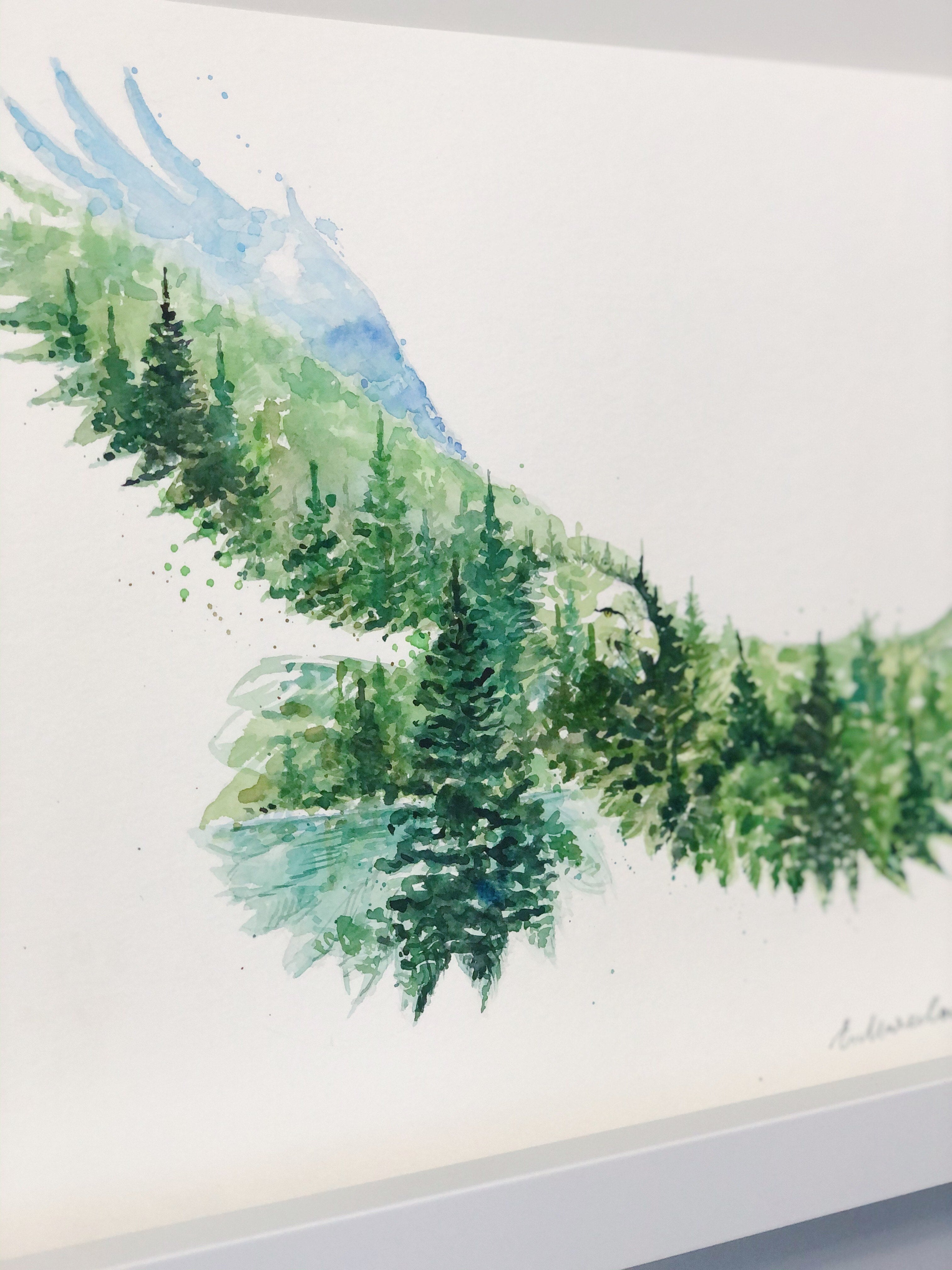 """The Eagle"" Double Exposure Forest & Lake Original Watercolour Painting 11""x15"""