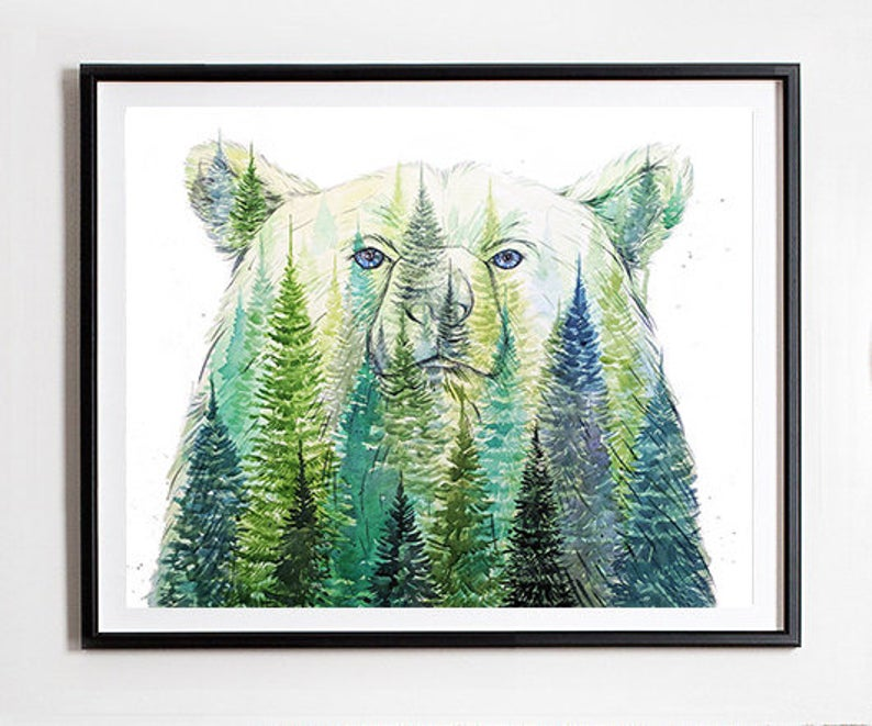 """King of the Forest"" Grizzly Bear Watercolour Print"